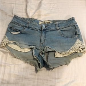 brandy melville denim shorts with lace details